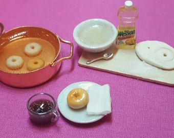 Miniature Doughnut making scene dollhouse