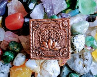 Crystal, Stones, Mystery Box, Bronze, Wooden, Lotus Flower