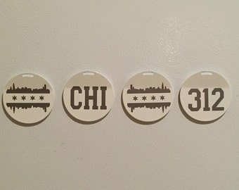 Chicago Magnets - Chicago  - Chicago Cubs Gift -  Windy City - Chicago Skyline - CHI - 312