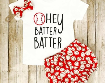 Red or blue baseball bloomers, bow, headband set