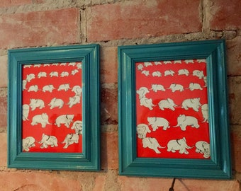 Set of Two Recycled Framed Vintage Prints - Babar The Elephant