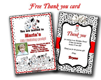 Dalmatians Birthday Invitation, Dalmatians Birthday Invite, Party Printable, 101 Dalmatians Party Invites Invitations, Baby Shower