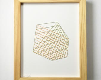 Hand Stitched Woven Shapes in Greens + Peach. Paper. Framed + Ready to Hang. One of a Kind Art Pieces.