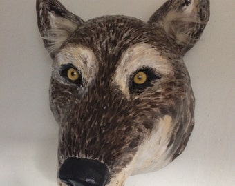 Wolf head/ Wolf faux taxidermy/ wolf sculpture