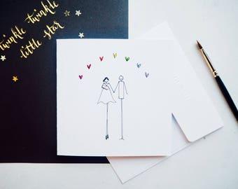 Handmade illustrated rainbow baby card | new baby card | rainbow baby gift