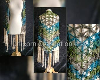 READY TO SHIP!!now on sale!!!  Unicorn Crochet flower of life shawl