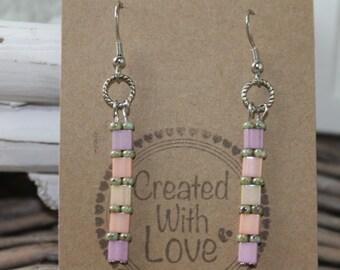 Earrings long beaded boho earrings bohemian gypsy chic dangle earrings gift for her trendy jewelry everyday jewelry pink violet bridesmaids