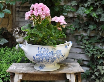Antique French white and blue tureen without lid / Shabby chic tureen / Vintage ironstone bowl / Original Vase / Vintage Gift