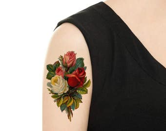 Temporary Tattoo - Purple Rose / Pink Rose / Scabiosa Vintage Flower Tattoo - Various Patterns and Sizes