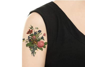 Temporary Tattoo - Vintage Floral / Vintage Feather / Blue Floral / Gentian Flower  - Various Sizes