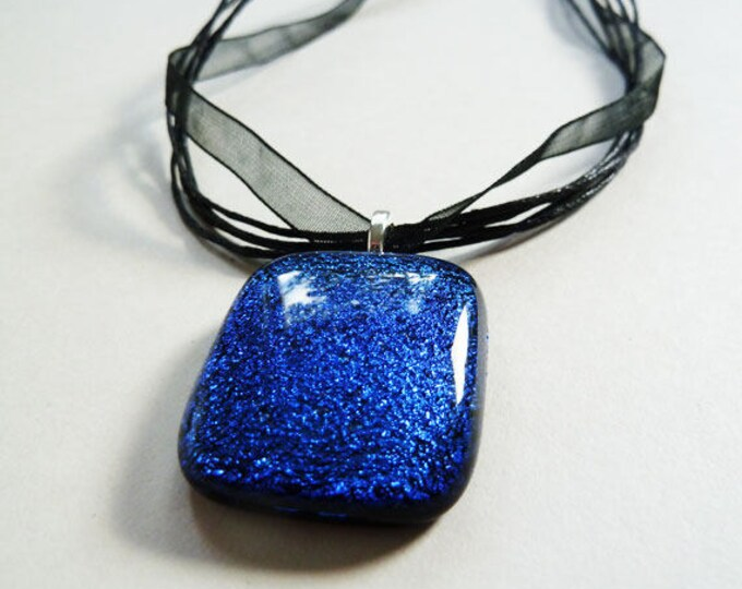Deep royal blue and black fused dichroic glass pendant on sterling silver snake chain