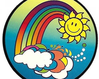 Sunshine, Rainbow, and Clouds Sticker / Decal, Smiley Face, Sixties, Retro, Hippie, Psychedelic