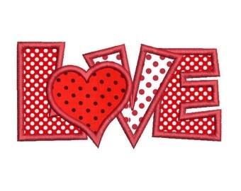 Valentine's Day Love Word Applique Machine Embroidery Design, Instant Download Valentine's Day Machine Embroidery Design no: SA546-2