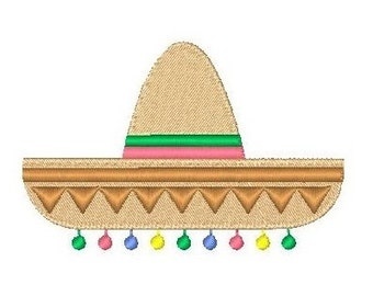 Mexican Sombrero Machine Embroidery Design, Fiesta, Fill Stitch Mexican Hat Machine Embroidery Design, 4x4, INSTANT DOWNLOAD, No: JG00035-2