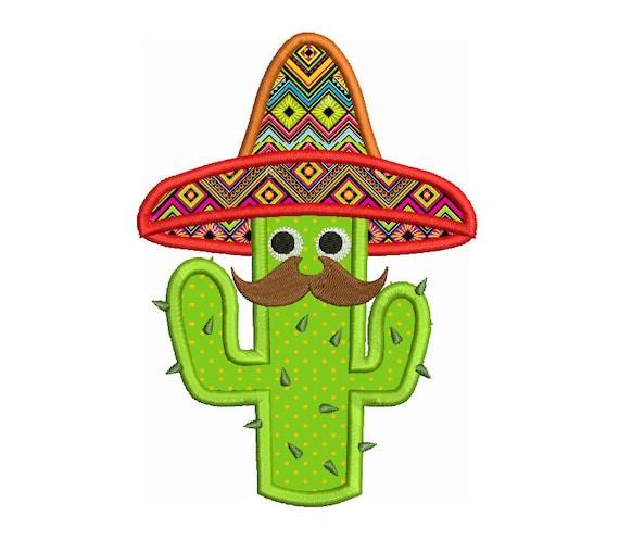 Cactus applique embroidery design machine