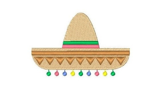Mexican sombrero machine embroidery design fiesta fill