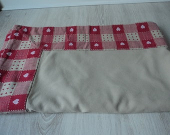 French vintage beige and red cotton table cloth (03863)