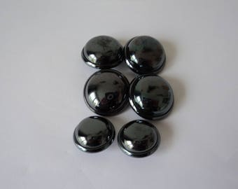 REDUCED - French vintage six dome shaped craft buttons (04686)