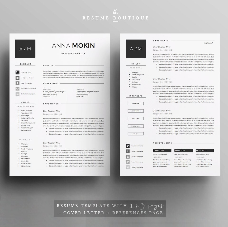5 page resume cv template cover letter references for