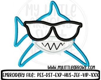 Shark with sunglasses applique - 5x7 6x10 shark applique - embroidery file- boy applique - boy embroidery - shark applique