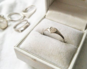 Sterling Silver Engraved Heart Signet ring