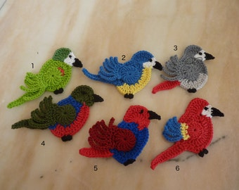 1 Crochet Applique, African grey parrot, Red scarlet macaw, Green parrot, Blue-and-yellow macaw, Australian king parrot , eclectus parrot