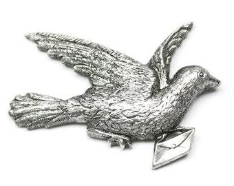 1pcs--Vintage,Messenger Dove,Brass Metal Stampings, Antique Silver, 54x37mm (B34-11)
