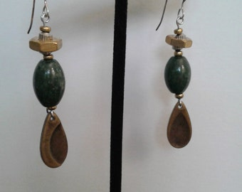Very unique, African jade gemstone, brass, hex nut, and sterling silver earrings