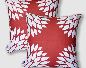 Sample SALE Red Pillow Covers 20x20, Red and White Throw Pillows, Toss Pillows, Floral Pillow, Decorative Pillows, Geometric Pillow Covers
