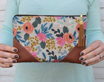 Canvas Rifle Paper Co. Clutch with Tassel Zipper Pull