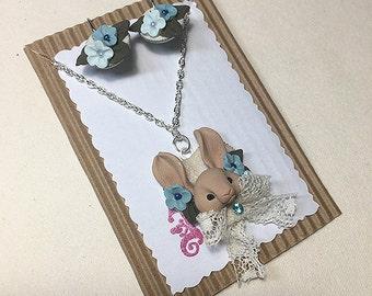 Bunny necklace + earrings set