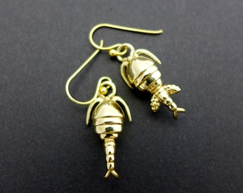 Copepod plankton earrings - marine biology, science jewelry in bronze, brass & silver
