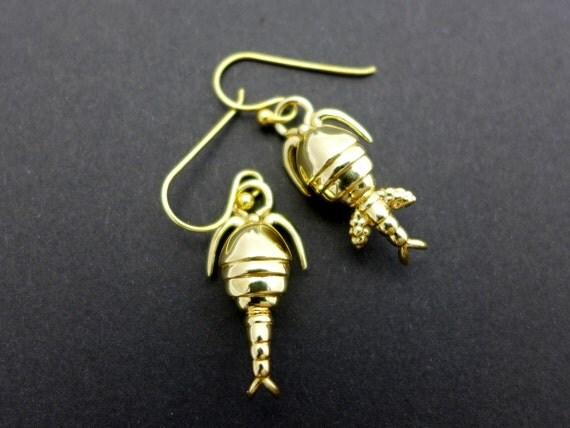 Copepod plankton earrings - marine biology, science jewelry in bronze, brass & silver