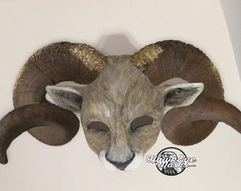 Aries, Ram mask, masquerade mask, horn options, animal costume mask, custom made, animal spirit mask, animal mask, zootopia inspired cosplay