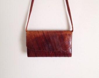 SALE Vintage 80s Brown Leather Envelop Purse