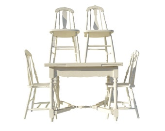 Cottage Farmhouse Table and Chairs Shabby White Dining Kitchen Table and Chairs Vintage Painted Table and Chairs Rustic Table and Chairs