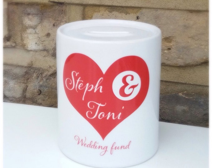 Personalised Money Box | Piggy Bank. Wedding fund | Couple's names | available any colour