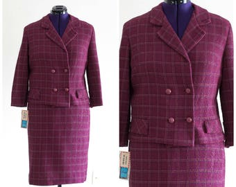 1960s dark pink plaid boucle double breasted knit suit NEVER WORN