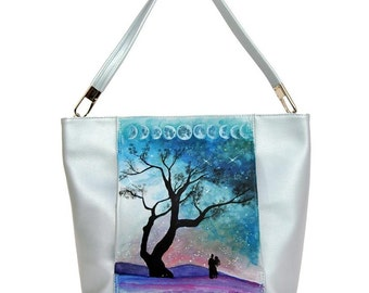Hand Painted Fine Grain Leather Purse - Letizia Moon Phases Airy Blue Bag by Lyria.ro