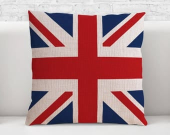 Pillow Cover, Pillow cases, 100% cotton fabric, Decorative Cushion, Throw Pillow, graphic pattern, British flag , 0500