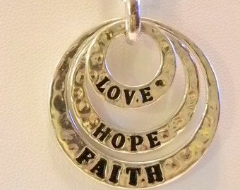 Silver Tone Love Hope Faith Round Pendant With Chain