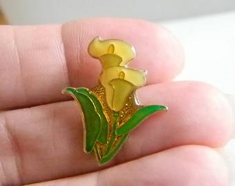 Yellow Calla Lily Enamel Tack Tac Pin Brooch