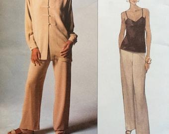 1994 Vogue Anne Klein II-American Designer No 1344-Misses' Jacket Pullover Top-Straight Legged Pants-UNCUT  Size 6-10