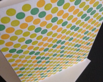 "Letterpress Stationery Note cards ""Micro Dots,  orange/green"""