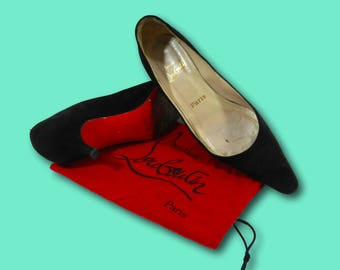 Vintage CHRISTIAN LOUBOUTIN Black Suede Leather Pointed Toe Kitten Red Bottom Heels Pumps Sz 37 / US 7