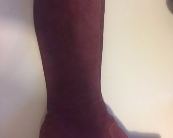 high knee boots suede pink