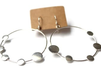 Big silver hoops, Large silver earrings, Sterling hoops, Dot earrings, Big silver earrings. Large silver hoops, Unusual hoop earrings