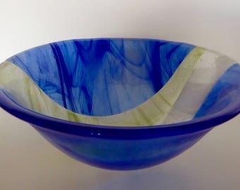 Wispy blue/green/white glass bowl