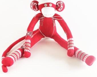 Kansas City Chiefs - Sock Monkey - NFL - National Football League - Red Sock Monkey - Football Sock Monkey - Chiefs Sock Monkey - Striped