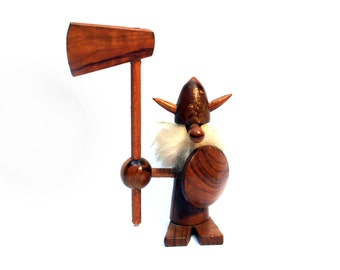Vintage Danish teak Viking collectable figurine, Scandinavian wooden statue, With its axe and its shield, MCM decor, 1950s